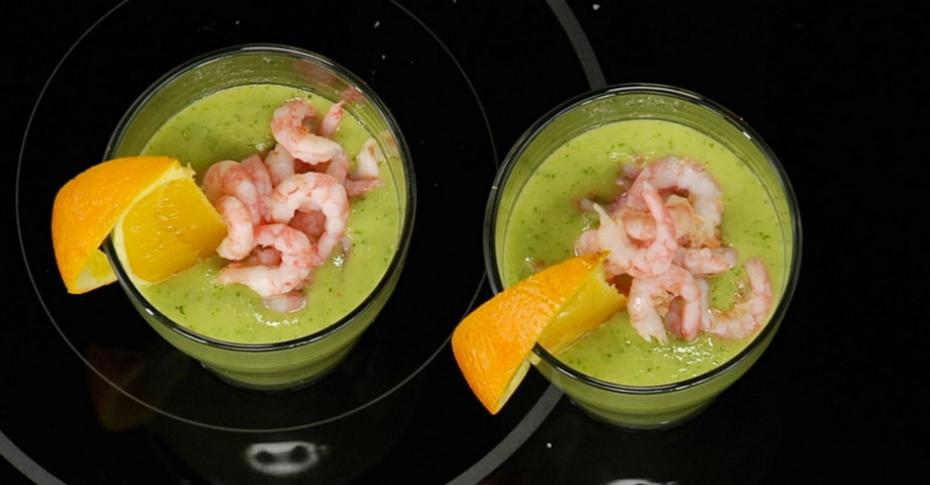 рецепт холодного супа с авокадо и креветками видео